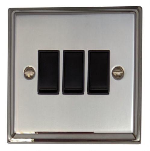 G&H DC3B Deco Plate Polished Chrome 3 Gang 1 or 2 Way Rocker Light Switch